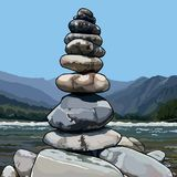 Drawn pyramid of stones on a background of nature Stock Photos