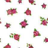 Drawn red roses seamless background. Flowers illustration front view. Handwork by felt-tip pens.  Royalty Free Stock Photo