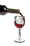 Drawn red wine Stock Images