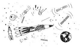 Drawn rocket Stock Photo