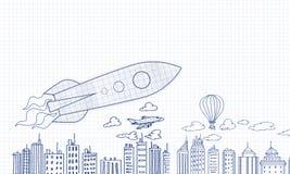 Drawn rocket Stock Image