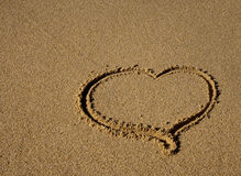 Drawn in the sand heart - a sign of love! Royalty Free Stock Photos