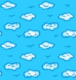 Drawn seamless pattern with clouds and birds Royalty Free Stock Photography