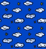 Drawn seamless pattern with clouds and stars Stock Image