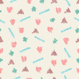 Drawn seamless scribble hearts, triangle shapes pattern. Doodle illustration Stock Photo