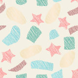 Drawn seamless scribble stars, oval, rectangle shapes pattern. Abstract doodle illustration Stock Image