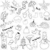 Drawn seasons stuff. With fir tree, cap, scarf. Vector illustration Stock Image