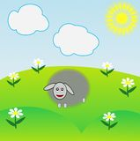 The drawn sheep grazes on a green lawn Stock Photos