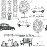 Drawn sketch of a city street background Royalty Free Stock Images