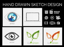 Drawn sketch designs Royalty Free Stock Image