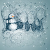 Drawn Snowman Royalty Free Stock Images