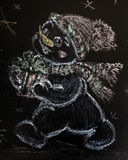 Drawn snowman with a Christmas tree on a black background. handmade Royalty Free Stock Image