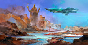 Drawn spaceship over an alien planet. Painted ship flying in the planet`s atmosphere Stock Photo