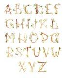 Drawn spring watercolor alphabet Stock Photo