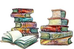 Drawn stacks of old books with beautiful color covers