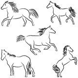 Drawn stylized horses Royalty Free Stock Photos