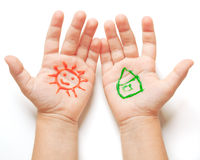 Drawn sun and house Royalty Free Stock Image