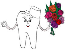 Drawn tooth doctor with flowers Royalty Free Stock Images