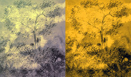 The drawn tree.2. Different color options of the tree drawn with a hand Stock Photography