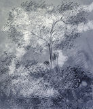 The drawn tree. Different color options of the tree drawn with a hand. Vertical illustration Stock Photography