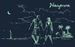 Drawn two lovers honeymoon night beach vector. Beautiful hand drawn illustration of two lovers on honeymoon, at night beach, vector illustration, sketch vector illustration