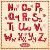 Drawn type font, vector illustration in retro Stock Photography