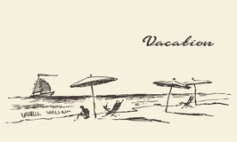 Drawn vacation poster seaside view beach sketch Royalty Free Stock Photography