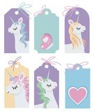 Drawn vector blank labels with cute cartoon style unicorn illustrations on colorful background stock illustration