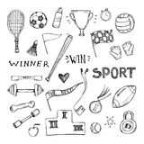 And drawn vector illustrations. Sport and fitness set Royalty Free Stock Photos