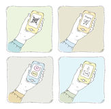 Using smartphone illustration set Stock Images