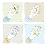 Using smartphone illustration set stock illustration