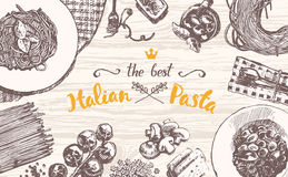 Drawn vector Italian pasta wooden table top sketch Stock Photo