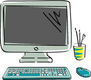 Drawn vector monitor with keyboard and mouse. Computer hardware in color Stock Images