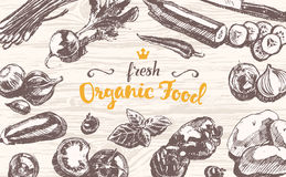 Drawn vector organic product wooden top sketch Royalty Free Stock Photography