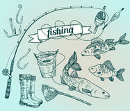 The drawn vector set: fishing. Rod, salmon, perch, bucket, fishi Royalty Free Stock Image