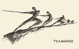 Drawn vector team teamwork partnership concept. Hand drawn vector illustration of a team, pulling line, sketch. Teamwork, partnership concept. Vector Stock Image