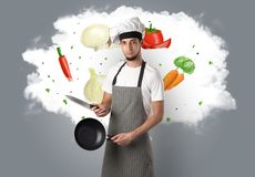 Vegetables on cloud with male cook. Drawn vegetables on cloud with male cook and kitchen tools stock images