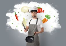 Vegetables on cloud with male cook. Drawn vegetables on cloud with male cook and kitchen toolsn royalty free stock image