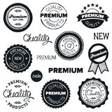 Drawn vintage badges. Set of hand-drawn vintage premium quality badges and labels Royalty Free Stock Photo