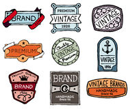Drawn vintage badges Stock Image