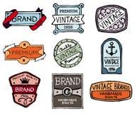 Drawn vintage badges. Set of hand-drawn vintage premium quality badges and labels Stock Image