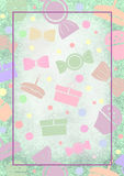 Drawn watercolor background with cakes, candy and gifts. Template for letter or greeting card with empty spase for text.Series of Watercolor, Pastel Royalty Free Stock Images
