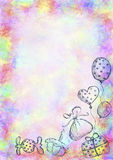 Drawn watercolor background with gift, cake, air balloons and candy. Stock Images