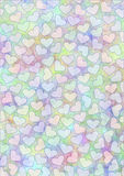 Drawn watercolor background with hearts.Template for letter or greeting card. Royalty Free Stock Photos