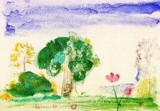Drawn watercolor landscape Stock Image