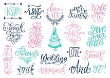 Drawn wedding set of laurels, rings, flowers, hearts etc. Vector handwritten phrases collection Save The Date, RSVP. vector illustration