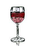 Drawn wine glass Royalty Free Stock Photo