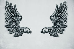 Drawn wings royalty free illustration