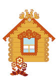 Drawn wooden house on a white background Royalty Free Stock Photo