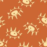 Drawnig gráfico bege dos globos oculares com as pestanas no fundo marrom ilustração royalty free